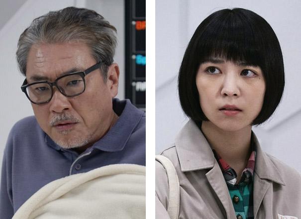 岡田誉士夫\u2026青山勝さん(左) 岡田しおり\u2026吉谷彩子さん(右)